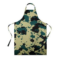 Фартук кулинарный Камуфляж пиксельный: зеленый/черный цвета 3D — фото 1