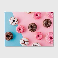 Холст прямоугольный Сладкие пончики цвета 3D — фото 2