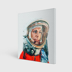 Холст квадратный Гагарин в полете цвета 3D — фото 1