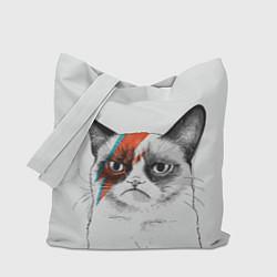 Сумка-шопер David Bowie: Grumpy cat цвета 3D-принт — фото 1