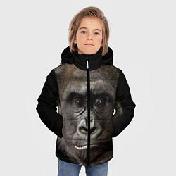 Детская зимняя куртка для мальчика с принтом Глаза гориллы, цвет: 3D-черный, артикул: 10105697906063 — фото 2