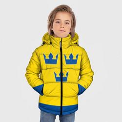 Куртка зимняя для мальчика Сборная Швеции: домашняя форма цвета 3D-черный — фото 2