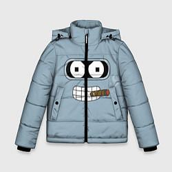 Куртка зимняя для мальчика Лицо Бендера цвета 3D-черный — фото 1