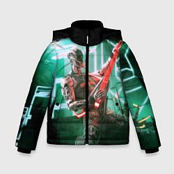 Детская зимняя куртка для мальчика с принтом Iron Maiden: Rocker Robot, цвет: 3D-черный, артикул: 10112079806063 — фото 1