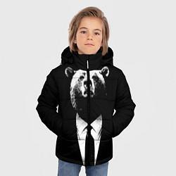 Куртка зимняя для мальчика Медведь бизнесмен цвета 3D-черный — фото 2