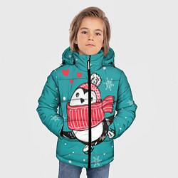 Куртка зимняя для мальчика Пингвинчик на коньках цвета 3D-черный — фото 2