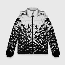 Детская зимняя куртка для мальчика с принтом Птичий вихрь, цвет: 3D-черный, артикул: 10115627906063 — фото 1