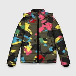 Куртка зимняя для мальчика Цветной камуфляж цвета 3D-черный — фото 1