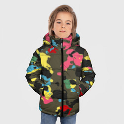 Куртка зимняя для мальчика Цветной камуфляж цвета 3D-черный — фото 2