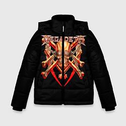 Детская зимняя куртка для мальчика с принтом Megadeth: Gold Skull, цвет: 3D-черный, артикул: 10118375606063 — фото 1
