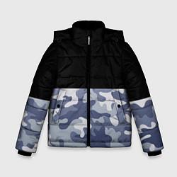 Куртка зимняя для мальчика Камуфляж: черный/голубой цвета 3D-черный — фото 1