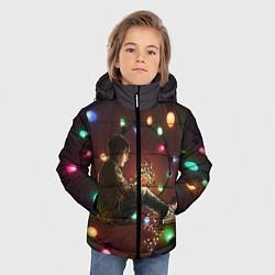 Куртка зимняя для мальчика Парень с лампочками цвета 3D-черный — фото 2