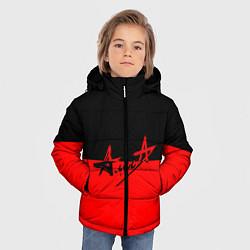 Куртка зимняя для мальчика АлисА: Черный & Красный цвета 3D-черный — фото 2