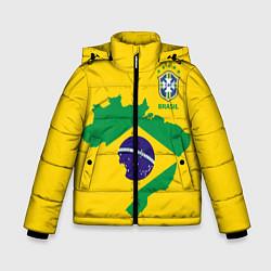 Детская зимняя куртка для мальчика с принтом Сборная Бразилии: желтая, цвет: 3D-черный, артикул: 10143140306063 — фото 1