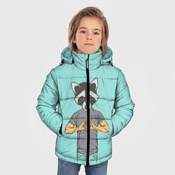 Куртка зимняя для мальчика Влюбленный мистер енот цвета 3D-черный — фото 2