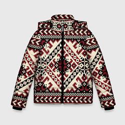 Куртка зимняя для мальчика Славянский орнамент цвета 3D-черный — фото 1