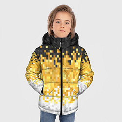 Детская зимняя куртка для мальчика с принтом Имперский флаг пикселами, цвет: 3D-черный, артикул: 10152081106063 — фото 2