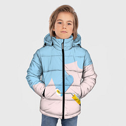 Детская зимняя куртка для мальчика с принтом Голубая заливка, цвет: 3D-черный, артикул: 10157480706063 — фото 2