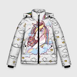Куртка зимняя для мальчика Единорог на облаках цвета 3D-черный — фото 1