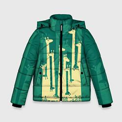 Куртка зимняя для мальчика Африканские жирафы цвета 3D-черный — фото 1