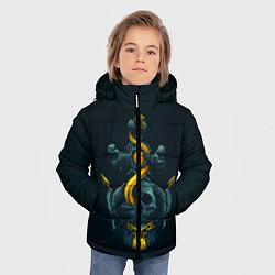 Куртка зимняя для мальчика Череп и золотой якорь цвета 3D-черный — фото 2