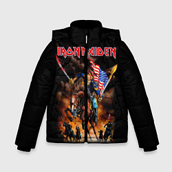 Детская зимняя куртка для мальчика с принтом Iron Maiden: USA Warriors, цвет: 3D-черный, артикул: 10173208506063 — фото 1