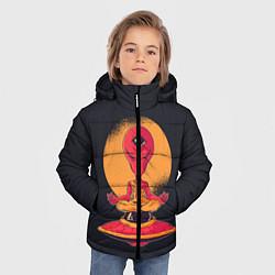 Куртка зимняя для мальчика Пришелец-медитатор цвета 3D-черный — фото 2