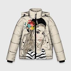 Детская зимняя куртка для мальчика с принтом Парижанка в берете, цвет: 3D-черный, артикул: 10180357506063 — фото 1