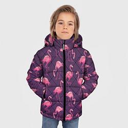 Куртка зимняя для мальчика Фиолетовые фламинго цвета 3D-черный — фото 2