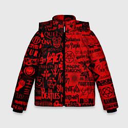 Куртка зимняя для мальчика ЛОГОТИПЫ РОК ГРУПП цвета 3D-черный — фото 1