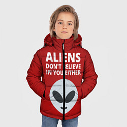 Куртка зимняя для мальчика Пришельцы не верят в людей цвета 3D-черный — фото 2