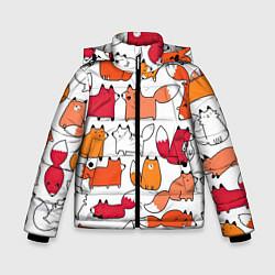 Куртка зимняя для мальчика Милые лисы цвета 3D-черный — фото 1