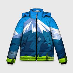 Куртка зимняя для мальчика Горы пейзаж природа вектор цвета 3D-черный — фото 1