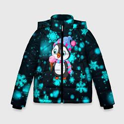 Куртка зимняя для мальчика Новогодний пингвин цвета 3D-черный — фото 1