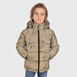 Куртка зимняя для мальчика Листья на бежевом фоне цвета 3D-черный — фото 2