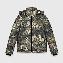 Куртка зимняя для мальчика Камуфляж с клевером цвета 3D-черный — фото 1