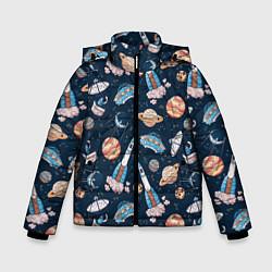 Куртка зимняя для мальчика Корабли, планеты и спутники цвета 3D-черный — фото 1