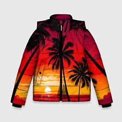 Куртка зимняя для мальчика Гавайский закат цвета 3D-черный — фото 1