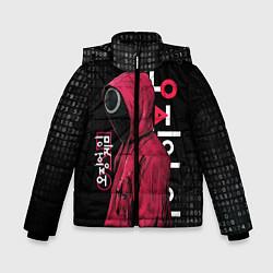 Куртка зимняя для мальчика ИГРА В КАЛЬМАРА, СТРАЖ КРУГ БИНАРНЫЙ КОД цвета 3D-черный — фото 1