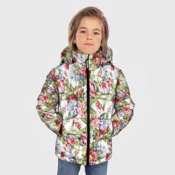 Детская зимняя куртка для мальчика с принтом Цветы, цвет: 3D-черный, артикул: 10063853306063 — фото 2