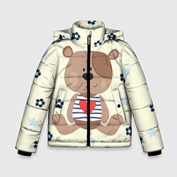 Куртка зимняя для мальчика Любовь мишки цвета 3D-черный — фото 1