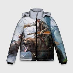 Детская зимняя куртка для мальчика с принтом Русский воин на медведе, цвет: 3D-черный, артикул: 10071970706063 — фото 1