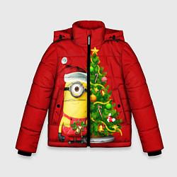 Куртка зимняя для мальчика Ёлка миньона цвета 3D-черный — фото 1