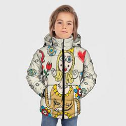 Детская зимняя куртка для мальчика с принтом Червовая дама, цвет: 3D-черный, артикул: 10079042006063 — фото 2