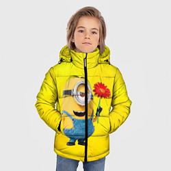 Куртка зимняя для мальчика Цветочек цвета 3D-черный — фото 2