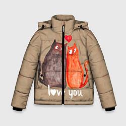 Куртка зимняя для мальчика Влюбленные котики цвета 3D-черный — фото 1