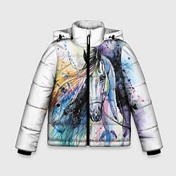 Куртка зимняя для мальчика Акварельная лошадь цвета 3D-черный — фото 1