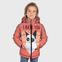 Куртка зимняя для мальчика I hate you цвета 3D-черный — фото 2