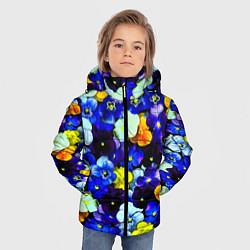 Куртка зимняя для мальчика Синие цветы цвета 3D-черный — фото 2