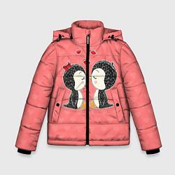 Куртка зимняя для мальчика Влюбленные пингвины цвета 3D-черный — фото 1